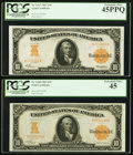 Large Size:Gold Certificates, $10 1907 Gold Certificates Two Different Friedberg Numbers.. ... (Total: 2 notes)