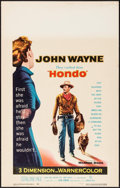 "Movie Posters:Western, Hondo (Warner Brothers, 1953). Window Card (14"" X 22"") 3-D Style. Western.. ..."