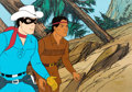 Animation Art:Production Cel, The Tarzan/Lone Ranger Hour Lone Ranger and SilverProduction Cel Setup and Painted Background (Filmation, c. 1980s)....