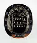 Sculpture, Pablo Picasso (1881-1973). Le hibou brillant, 1955. Glazed white earthenware ceramic plate, painted in black, brown and ...