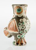 Sculpture, Pablo Picasso (1881-1973). Chouette, 1968. Partially glazed earthenware ceramic vase, painted in black, white, brown and...