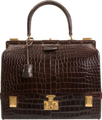 An Hermés Cocoan Porosus Crocodile Sac Mallette Bag 10-1/2 h x 11-1/2 w x 4-1/2 d inches (26.7 x 29.2 x 11.4 cm)