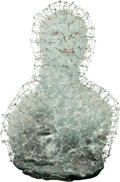 Art Glass, Hank Murta Adams (American, b. 1956). Gridded Bust, 1988.Cast and enameled glass with patinated copper wire. 30 x 21 x ...