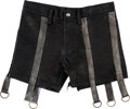 Music Memorabilia:Costumes, Nine Inch Nails - A Trent Reznor Pair of Black Leather Shorts fromthe Self Destruct Tour (1994-1995)....