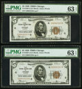 Fr. 1850-G $5 1929 Federal Reserve Bank Notes. Ten Consecutive Examples. PMG Graded