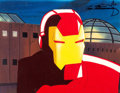 Animation Art:Production Cel, Iron Man Production Cel with Painted Background andAnimation Drawing(Marvel Studios, c. 1995).... (Total: 3 Items)