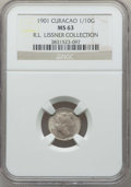 Curacao, Curacao: Dutch Colony. Wilhelmina 1/10 Gulden 1901 MS63 NGC,...