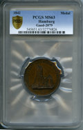 "German States:Hamburg, German States: Hamburg copper ""Reconstruction of St. Peter's after the Great Fire"" Medal by Wilkens 1842 MS63 PCGS,..."