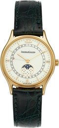 Timepieces:Wristwatch, Jaeger LeCoultre 140.345.1 Gold Moon Phase Calendar Watch. ...