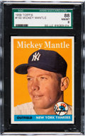 Baseball Cards:Singles (1950-1959), 1958 Topps Mickey Mantle #150 SGC 88 NM/MT 8....