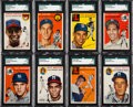 Baseball Cards:Lots, 1954 Topps Baseball Shoebox Collection (153) With Kaline, Banks& Both Williams. ...