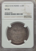 British West Indies, British West Indies: British Colony. George IV 1/2 Dollar 1822 VF35NGC,...