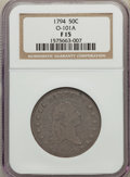 Early Half Dollars, 1794 50C O-101a, T-7, High R.3, Fine 15 NGC. NGC Census: (7/30).PCGS Population: (4/12). ...