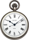 Timepieces:Pocket (post 1900), Ulysse Nardin Sterling Silver Center Seconds Deck Watch. ...