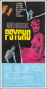 "Psycho (Paramount, 1960). Three Sheet (41.25"" X 78.25""). Hitchcock"