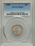 Seated Dimes: , 1882 10C MS63 PCGS. PCGS Population: (89/226). NGC Census:(60/245). MS63. Mintage 3,910,000. ...