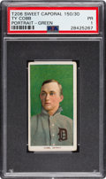 Baseball Cards:Singles (Pre-1930), 1909-11 T206 Sweet Caporal Ty Cobb (Green Portrait) PSA Poor 1....