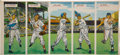 Baseball Cards:Unopened Packs/Display Boxes, Extremely Rare 1955 Topps Double Headers Uncut 5-card Panel WithAaron! ...
