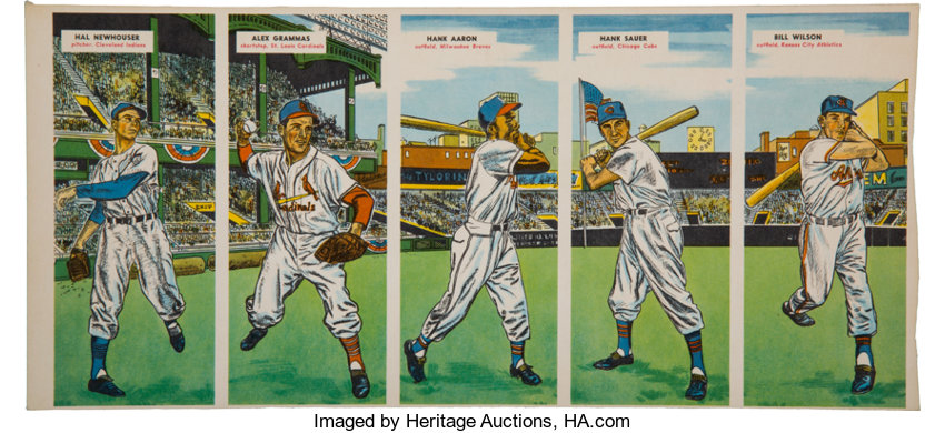 Extremely Rare 1955 Topps Double Headers Uncut 5 Card Panel Lot