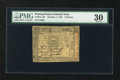 Colonial Notes:Pennsylvania, Pennsylvania October 1, 1773 18d PMG Very Fine 30....