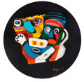 Sculpture, Karel Appel (1921-2006). Deux Personnages, 1976. Stone with handpainting. 24 inch (61 cm) diameter. Ed. 12/99. Signed an...