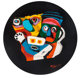 Karel Appel (1921-2006) Deux Personnages, 1976 Stone with handpainting 24 inch (61 cm) diameter Ed. 12/99 Signed an