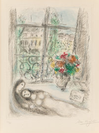Marc Chagall (1887-1985) Quai des Célestins, 1975 Lithograph in colors on Arches paper 29-3/8 x 2
