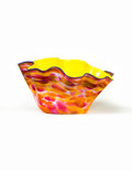 Glass, Dale Chihuly (American, b. 1941). Monumental Cadmium Yellow Macchia Bowl with Lapis Lip Wrap, 1988. Blown glass. 13 x 29...