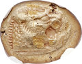 Ancients:Greek, Ancients: LYDIAN KINGDOM. Alyattes or Walwet (ca. 610-561 BC). ELthird stater or trite (12mm, 4.74 gm). NGC XF 5/5 - 3/5....