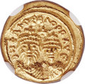 Ancients:Byzantine, Ancients: Heraclius (AD 610-641) and Heraclius Constantine (AD613-641). AV solidus (11mm, 4.43 gm, 6h). NGC Gem MS 4/5 - 5/5....
