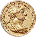 Ancients:Roman Imperial, Ancients: Trajan (AD 98-117). AV aureus (18mm, 6h). ANACS VF 35, ex-jewelry, scratched....