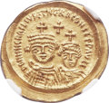 Ancients:Byzantine, Ancients: Heraclius (AD 610-641), with Heraclius Constantine. AVsolidus (22mm, 4.49 gm, 6h). NGC MS ★ 5/5 - 5/5....