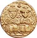 Ancients:Byzantine, Ancients: Constantine VI (AD 780-797), with Leo IV the Khazar, LeoIII, and Constantine V. AV solidus (22mm, 4.42 gm, 6h).NGC XF4/5 - ...