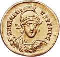 Ancients: Arcadius, Eastern Roman Emperor (AD 383-408). AV solidus (20mm, 4.38 gm, 6h). NGC Choice AU 5/5 - 3/5...