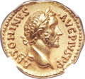 Ancients:Roman Imperial, Ancients: Antoninus Pius (AD 138-161). AV aureus (18mm, 7.24 gm,12h). NGC MS 5/5 - 4/5, Fine Style....