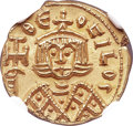 Ancients:Byzantine, Ancients: Theophilus (AD 829-842). AV solidus (15mm, 3.88 gm, 6h).NGC MS 5/5 - 5/5....