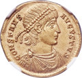 Ancients:Roman Imperial, Ancients: Constans (AD 337-350). AV solidus (22mm, 4.51 gm, 5h). NGC MS 5/5 - 4/5....