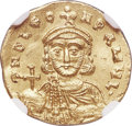 Ancients:Byzantine, Ancients: Leo III the Isaurian (AD 717-741), with Constantine V (AD720-775). AV semissis (17mm, 2.15 gm, 6h). NGC MS 5/5 - 4/5,clipped...