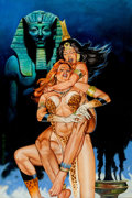 Original Comic Art:Paintings, Tom Simonton - Jungle Queen Fight Painting Original Art (1979)....