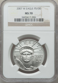 2007-W $100 One-Ounce Platinum Eagle, Burnished, 70 NGC. NGC Census: (319). PCGS Population: (184). From The Star Mo...(...