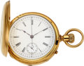 Timepieces:Pocket (pre 1900) , Patek Philippe, 18k Gold Hunter Cased Chronograph, No. 47270, circa 1875. ...
