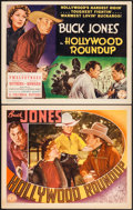 "Movie Posters:Western, Hollywood Roundup (Columbia, 1937). Title Lobby Card & Lobby Card (11"" X 14""). Western.. ... (Total: 2 Items)"