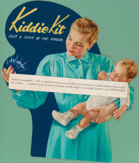 AMERICAN ARTIST (20th Century) Kiddie Kit, ad illustration Mixed-media on board 36 x 31 in. No