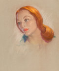 Mainstream Illustration, Guy Hoff (American, 1889-1962). Redhead. Pastel on canvas.24.25 x 20 in.. Signed lower center. ...