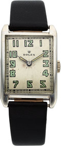 Timepieces:Wristwatch, Rolex, Ref: 579, Sterling Silver Tank Style, Circa 1920's. ...