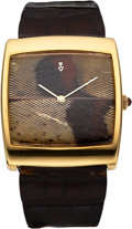 "Timepieces:Wristwatch, Corum, 18k Gold, Pheasant Feather Dial, ""Buckingham"" Watch, Circa 1970's. ..."