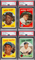Baseball Cards:Lots, 1959 Topps Baseball Stars & HOFers High Grade PSA GradedCollection (15). ...