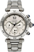 Timepieces:Wristwatch, Cartier Pasha Ref. W31030H3 Steel Automatic Chronograph. ...