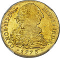 Colombia, Colombia: Charles III gold 8 Escudos 1773 P-JS MS61 NGC,...