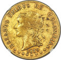 Colombia, Colombia: Republic gold 20 Pesos 1870/69-POPAYAN VF35 NGC,...